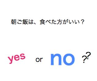健康カラダ☆ 朝ご飯は、食べた方がいい? yes  or no