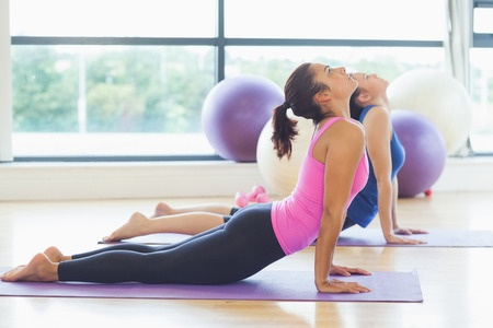 26993227 - side view of two fit women doing the cobra pose in a bright fitness studio