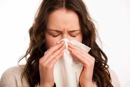 44368826 - asian caucasian woman with flu